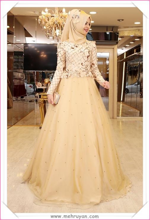 40c2a96934c7e En Güzel Tesettürlü Nişan Elbisesi Modelleri (12) - Tesettür Diyarı