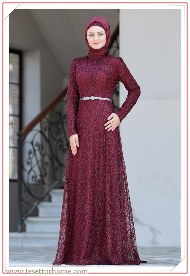 en güzel tesettürlü nişan elbisesi modelleri