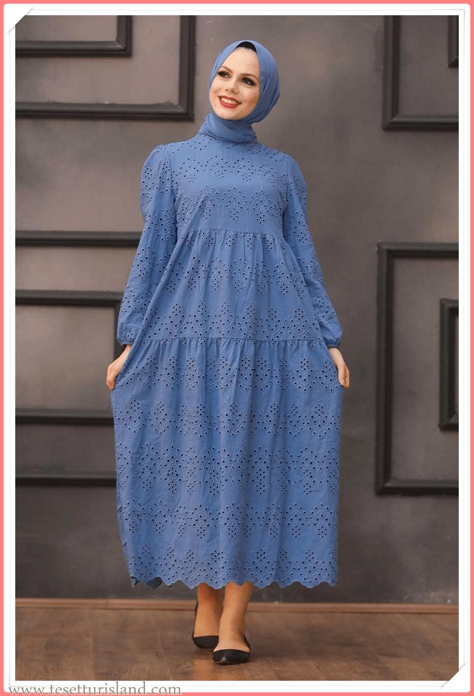 günlük tesettür elbise modelleri 2021 koleksiyonu